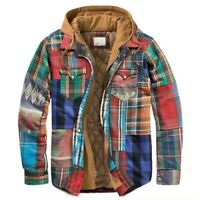 Men's Winter Thick Warm Thermal Loose Hooded Jacket Printed Coat Zipper Outwear