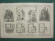 1877 DATED ARCHITECTURAL PRINT ~ PROPOSED NEW VILLA BURTON ON TRENT PLAN R. EDIS