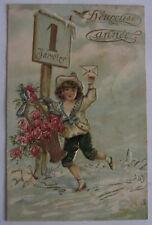 Cartolina d'epoca in rilievo Bambini - primi '900 postcard - tarjeta - Buon Anno
