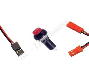 Plug and Switch Combo Package #1 JR- JST- Red Push Button Switch- RC LED Lights