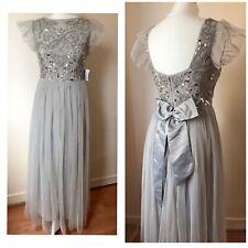 MAYA Deluxe Grey Maxi Tutu embellished Sequin Top Dress Size 8 New