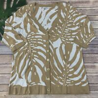 Isaac Mizrahi Live Tropical Leaf Print Cardigan Sweater Plus Size 1x New Tan