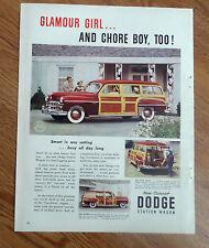 1949 Dodge Coronet Station Wagon Ad Glamour Girl & Chore Boy Too