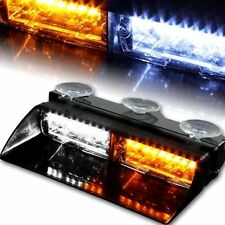 Car 16 LED Amber/White Police Strobe Flash Light Dash Emergency Flashing Light