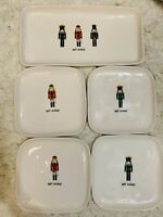 5pc New Rae Dunn Happy Holidays Nutcracker Platter Serving Tray & 4 Plate Set
