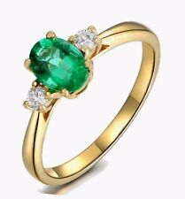 Natural Emerald oval cut and Diamond Solitaire Yellow Gold Ring 7 UGL Certified