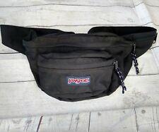 Vtg JANSPORT Fanny Pack Waist Bag Hip Pouch Large Adjustable Hiking Black Nylon