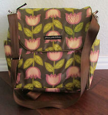 Petunia Pickle Bottom Glazed Boxy Diaper Bag Backpack Brown Pink Tulips