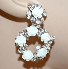 PENDIENTES blancos mujer cristales colgantes plata strass rosas brincos BB10