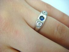 14K WHITE GOLD GYPSY SAPPHIRE AND TWO DIAMONDS LADIES RING 3.9 GRAMS SIZE 5