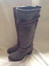 "Frye Jane Suede Strappy High Boots Grey Women's Size 6 17"" Designer"