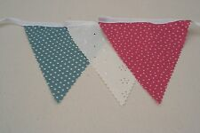 Teal and Pink Mix Cotton Fabric Bunting Single side 10m/32ft  long