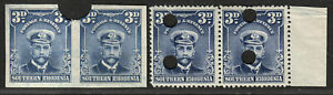 S.RHODESIA 1924 ADMIRAL WATERLOW PROOFS PAIRS 3d MNH.  A484