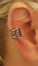 Ear Cuff -  FILIGREE FLOWER SCROLL - Silver Helix Cartilage Earring Cuff Ornate