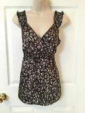 Ann Taylor LOFT Sz 8 Gray Floral Sleeveless Blouse Top Crossover V-Neck Side Zip