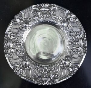 Rare 1890's Antique 800 Silver Rococo Repousse Chased Plate  38 Gr.