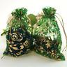 Verde Organza Sacchetti Lusso Glitter Astuccio Regalo Matrimonio Gioielli Natale
