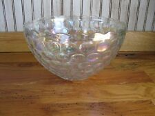 Vintage Carnival Glass Large Punch Bowl Waffle Pattern Heavy Weight NICE!