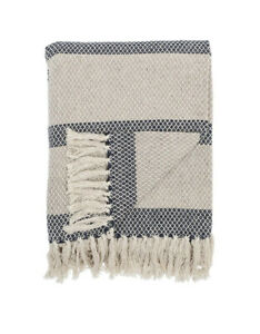 Danish Brand Bloomingville Cotton Striped Fringed Throw