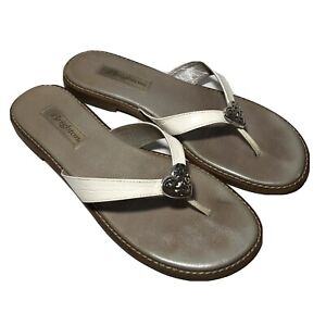 Brighton Womens Orla Flip Flop Sandals White Leather Heart Size 9.5