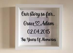 Box Frame Vinyl Decal Sticker Wall art Quote Our Story So Far.... memories