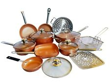 15-Piece Copper Non Stick Cookware All In One Kitchen Set Induction Base New