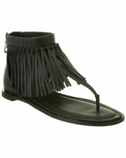 Tod's Black Fringe Flat Sandals 36 made in Italy