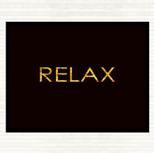 Black Gold Relax Quote Dinner Table Placemat