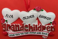 Personalised Family Christmas Tree Xmas Decoration Ornament GrandchildrenFam 2-9