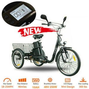 """Black TDR 22"""" 20"""" Adult Trike 3 Wheel Bike Electric Tricycle Cruiser Ebike AU"""