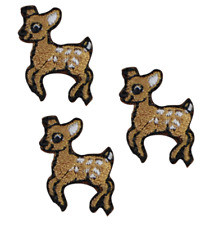 Deer Fawn Playing Applique Patch (3-Pack, Small, Iron on)