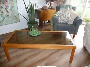 vintage modern rectangular smoked glass & timber coffee side table retro