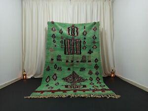 "Handmade Vintage Boujad Moroccan Rug 5'1""x 8'4"" Feet Diamond Green Berber Carpet"