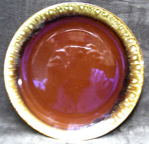 """LARGE 12 1/4"""" Brown Drip Glazed STONEWARE PLATTER Round Coupe Chop Plate USA"""