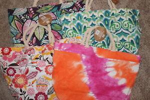 pbteen pb pottery barn TEEN blue pink green orange REVERSIBLE BEACH BAG Tote