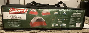 Coleman Flatwoods 4 Person Tent - Red & Gray New In Original Carry Bag & Box