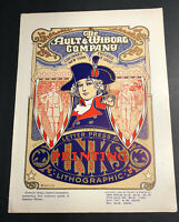 Ault Wiborg Litho Printing INK Poster Sign Original Art Nouveau Patriotic