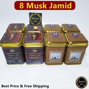 8× Hemani Musk Jamid Black & Perfume non-alcohol Arabic Solid Perfume 25g مسك