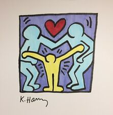 ORIGINAL HARING HAND-DRAWN AND SIGNED INK * FAMILY HUG * ON CARDSTOCK