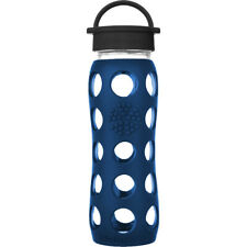 Lifefactory 22oz Glass Water Bottle with Silicone Sleeve and Classic Cap Blue
