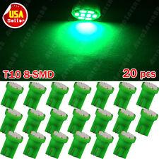 20PCS Green Wedge T10 8SMD LED License Light W5W 158 168 192 194 906 2825