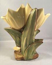 "Vintage McCoy Pottery Ceramic Double Tulip Vase w/Yellow Decorations 8"""