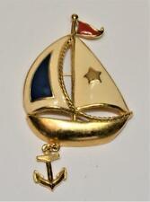 Vintage Signed AVON Goldtone Enamel SAILSHIP with Dangle Anchor Pin Brooch