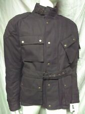 WAXED COTTON MOTORCYCLE BIKER JACKET BROWN WP BODY ARMOR PADDED LARGE L ShipASAP