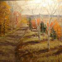 Sydney Berne (MARTIN) Laurentian Counrty Road Autumn CANADA OIL ON BOARD