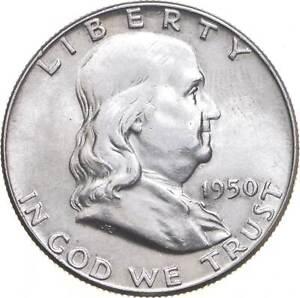 Choice Uncirculated BU MS 1950 Franklin Half Dollar 90% Silver Tough Coin! *525