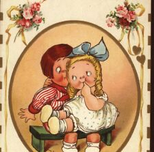 DRAYTON,WEIDERSEIM... ROMANTIC GIRL SITS ON SURPRISED BOY'S LAP,VINTAGE POSTCARD