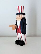 "8"" hand carved patriotic wooden figure - uncle sam"