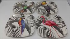 "4 Pack EDGO Melamine Plate 8"" Tropical Design/Patterns Party Picnic BBQ Buffet"