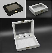 Grey Black Velvet Glass Jewellery Display Organiser Box Storage Empty20x15x4.8cm